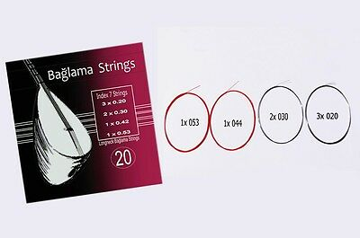 Baglama Saz Strings 0.20 Set Saz Teli Saz Saiten Red