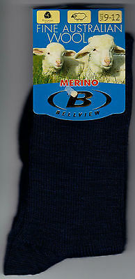 3 Pairs - Kids Merino Wool School Socks NAVY Size 9-12 / Ages 5-8 Approx
