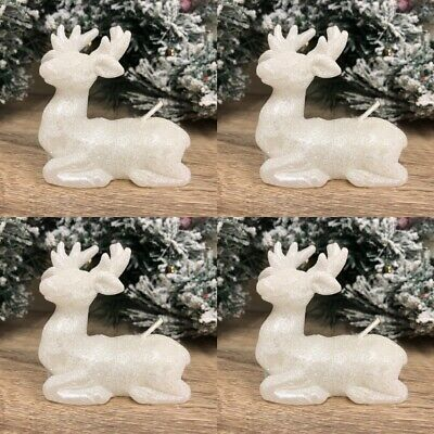 4 White Reindeer Glitter Christmas Deer Candles ~ Table Home Decoration 43