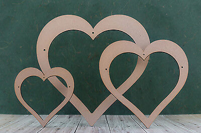Open Heart shapes with centre cut out 3mm mdf heart blank ideal for crafts