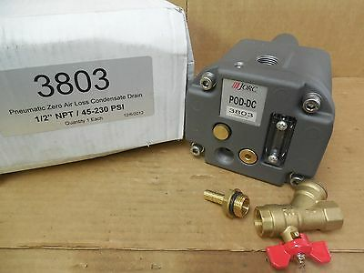 "JORC Pneumatic Zero Air Loss Condensate Drain 3803 1/2"" NPT 45-230 PSI New"