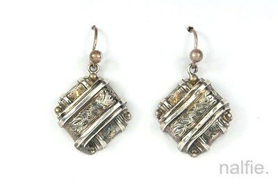 ANTIQUE ENGLISH VICTORIAN PERIOD STERLING SILVER EARRINGS c1890