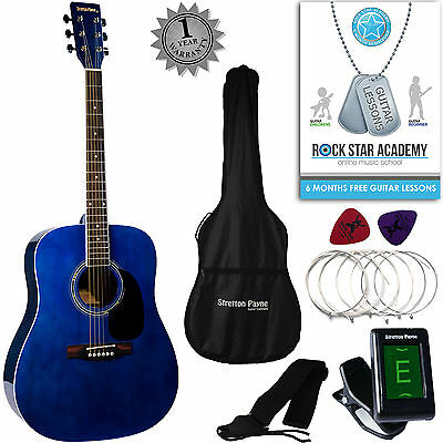 Acoustic Guitar Package Full Size Steel String Dreadnought Guitar Pack Blue