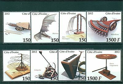 Leonardo da Vinci Art Inventions Ivory Coast 8 MNH stamps set