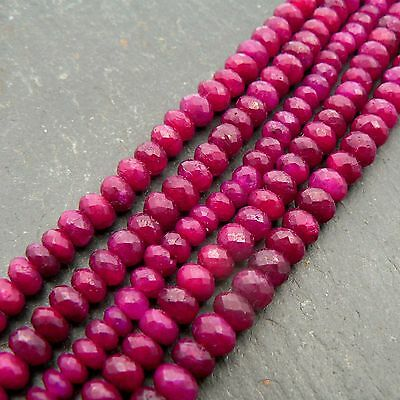 """Ruby AA Grade Faceted Rondelle Beads 14.5"""" Strand Precious Gemstone"""