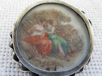 Antique Victorian Painting On Porcelain Lesbian Scene Silver Frame Pin Brooch