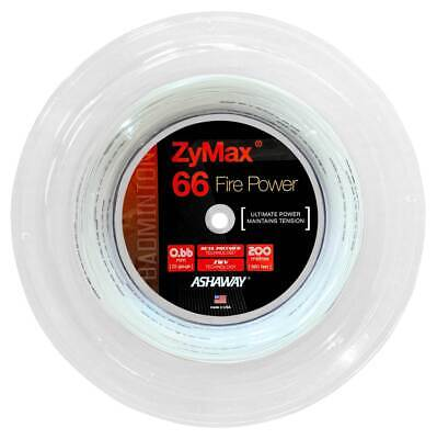 Ashaway Zymax 66 Fire Power 0.66mm Badminton Strings 200M Reel