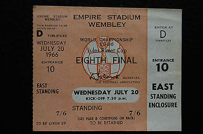 Un-Used Ticket 1966 World Cup  20/07/1966  England V France