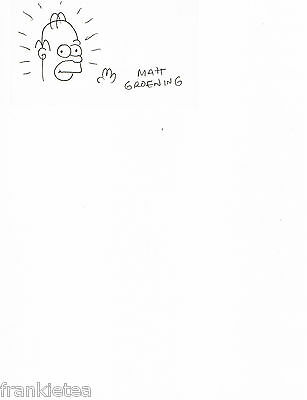 Matt Groening Signed Sketch of Homer on a 3 x 5 Card Plus a Colored 8x10 Photo