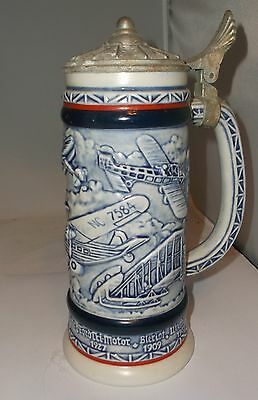 """Avon History of Aviation Airplanes Beer Lidded Stein Tankard Large 9.5"""" Mint!"""