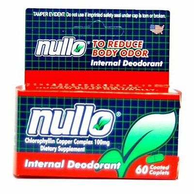 60 pc Nullo Internal Deodorant Caplets Oral Colostomy Ostomy Pouch Tablets Odor