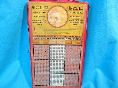 Unpunched 900 Hole Odd Pennies Cigarettes Bright Eyes Pin Up Girlie Punch Board