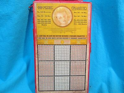 Unpunched 900 Hole Odd Pennies Cigarettes Demure Pin Up Girlie Punch Board
