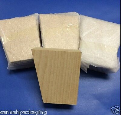 """Lot Of 4 Tapered Birch Furniture Leg/Feet  4-1/4"""" High Unfinished"""