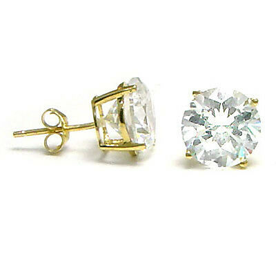 Solid Solitaire Round CZ Stud Earrings 14K Yellow Gold Basket Setting