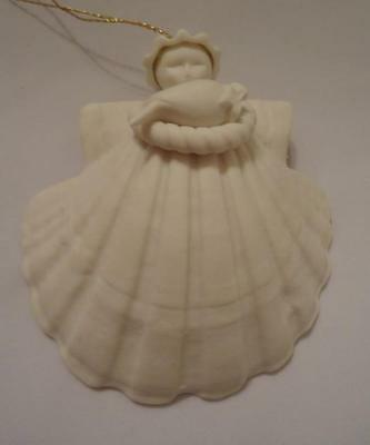 Vintage 1984 Margaret Furlong Angel with Dove  Seashell Christmas Ornament