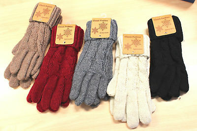 Women Ladies Vintage Style  Winter Warm Kintted Patterned Gloves for Slim Hands