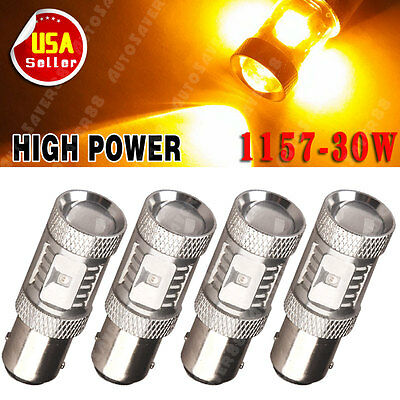 4x Amber Yellow 1157 30W High Power LED Back Up Reverse Stop Light Bulbs 4300K