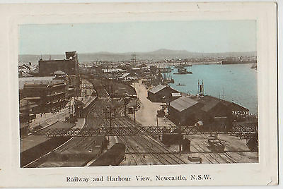 Postcard railway lines and harbour view Newcastle NSW sent to Auckland NZ
