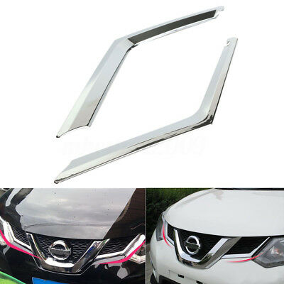 2Pcs Chrome Front Grille Grill Molding Cover Trim For Rogue X-Trail 2014 2015