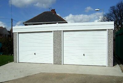 DOUBLE PENT CONCRETE SECTIONAL GARAGE WITH PVCu FASCIAS