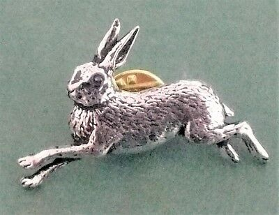 'Running Hare' English pewter pin badge (A2)