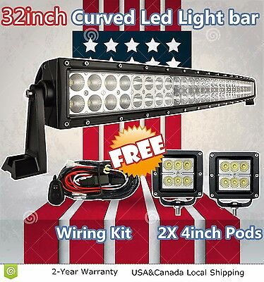 """32inch Curved Led Work Light Bar +2x 4"""" Cree Pods Offroad SUV ATV Jeep Truck 32"""