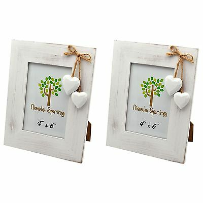 """White Wooden Photo Picture  Frame With White Hearts - 4 x 6"""" - Pack Of 2"""