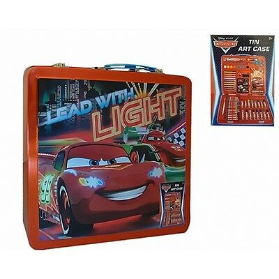 Disney Cars 'Metal Tin' Art Set Activity Stationery Brand New Gift