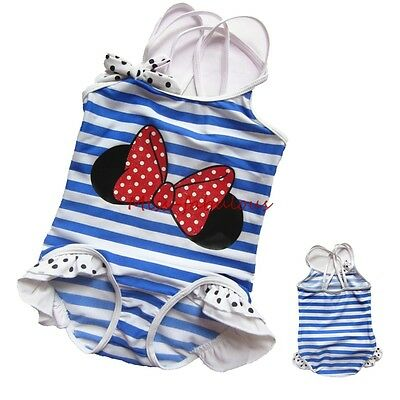 Girls 1PC Minnie Bow Swimsuits Stripe Bather Suit Blue White Straped Swimwear