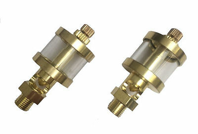 RDGTools 2 x Tiny Brass Drip Feed Oilers 37mm high X 17.5mm diameter Oiler
