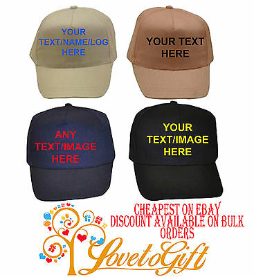 Personalised Custom Printed Baseball Caps Hats Any Text Logo Image Picture Name