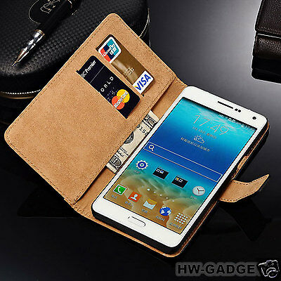 Genuine Real Leather Wallet Flip Stand Case Cover for Samsung Galaxy A5 (2016)