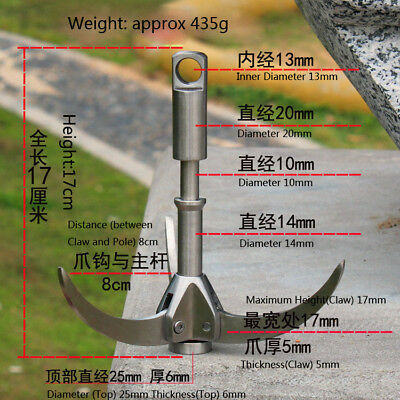 Grappling Hook 3 Folding Claws 350KG Load for Mountain Rock Climbing Caving