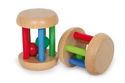 Wooden Rolling Grasping Toy Colourful Noisy Rolling Ball Rattle Baby Toy