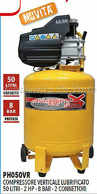 Compressore 50 Lt Olio Italy 8 Bar 2 Hp 2 Manomet 2 Connett Verticale Salvaspazi