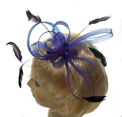 purple multi loops and feather  fascinator comb for Weddings