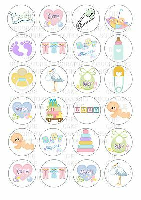 24 Edible Baby Shower Unisex Iced / Icing Cupcake Topper Fairy Cake Bun Toppers