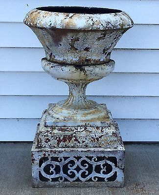 Old Vtg Antique Cast Iron Ornate White Chippy Paint Garden Cemetary Planter Urn