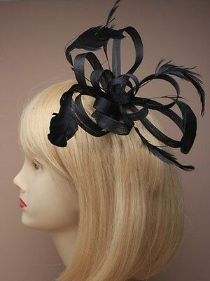 HAIR FASCINATOR black  loops feather and coiled on comb, Weddings, Races