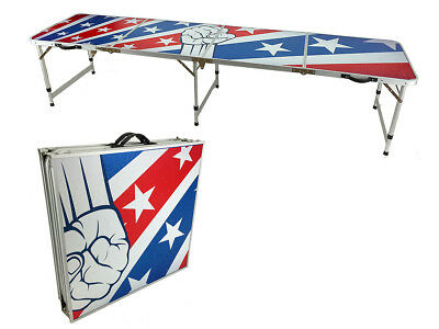 American Flag Beer Pong Table 8' Aluminum Folding Tailgate Drinking Game 11 New