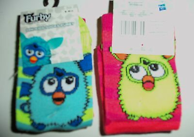 2 Pack Girls Socks with Furby detaIl. Pink/Orange Stripe and Green/Yellow Stripe