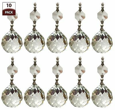 10 PK Chandelier Replacement Crystal Prisms Clear Faceted Ball CPC-1006-CH-1-10