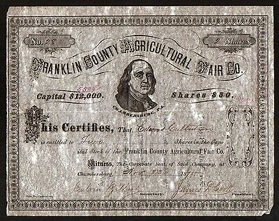 1875 Franklin County Agricultural Fair Genuine Original  Stock Certificate RARE