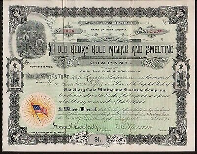 1897 American Flag - Old Glory Mining and Smelting Stock Certificate W Virginia
