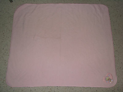 "Precious Moments Pink Fleece Baby GIRL Blanket Heart Plush Lovey 36 x 42"" 2001"