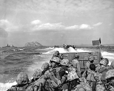 1945 D-Day-Marine-laden Initial Assault Craft head to the beach Iwo Jima