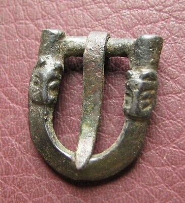 Authentic Ancient Artifact > Viking Silver Buckle with Bear Heads VK 50