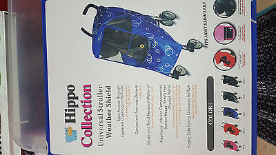 Hippo universal Baby strollers cover weather shield  Blue one size