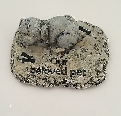 11cm Grey Stone Colour Dog Pet Memorial For Garden Or Home - Our Beloved - Dog